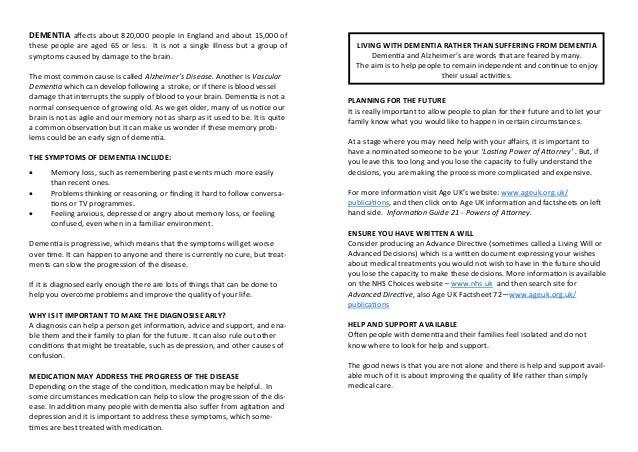 Dementia advice information leaflet portswood solent Slide 2