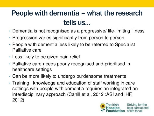 Palliative care in dementia