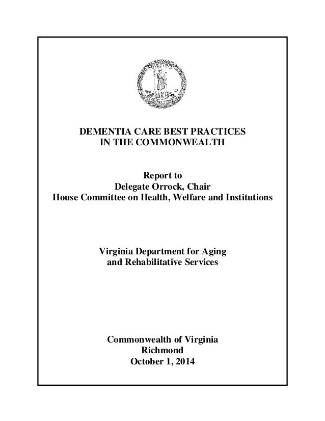 Dementia Care Best Practices In The Commonwealth Of Virginia