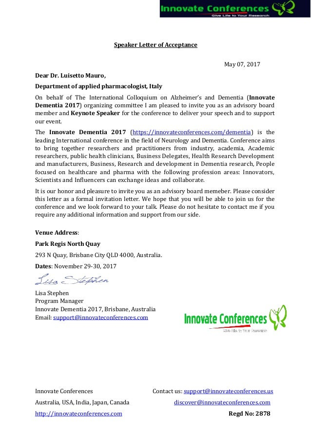 Dementia ocm letter of invitation innovate conference 2017 ...