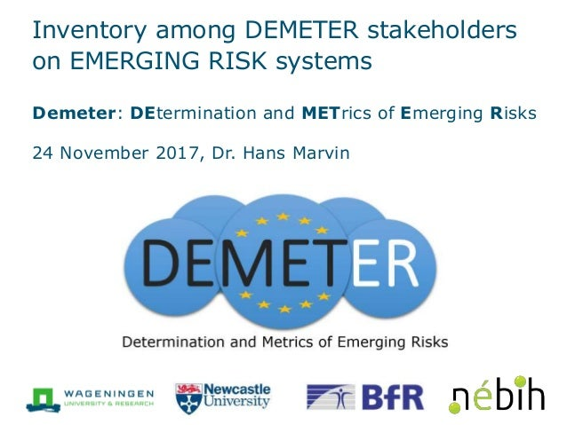 Inventory among DEMETER stakeholders on EMERGING RISK systems Demeter: DEtermination and METrics of Emerging Risks 24 Nove...