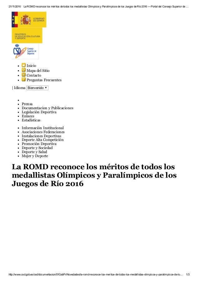 21/11/2016 LaROMDreconocelosméritosdetodoslosmedallistasOlímpicosyParalímpicosdelosJuegosdeRío2016—Port...