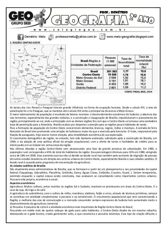 1. REGIÃO CENTRO-OESTE As bacias dos rios Paraná e Paraguai tiveram grande influência na forma de ocupação humana. Desde o...