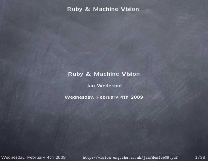 Ruby & Machine Vision                                    Ruby & Machine Vision                                      Jan We...