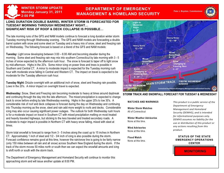 TUESDAY, May 26, 1999 – 4:15 PM             WINTER STORM UPDATE                                  DEPARTMENT OF EMERGENCY  ...