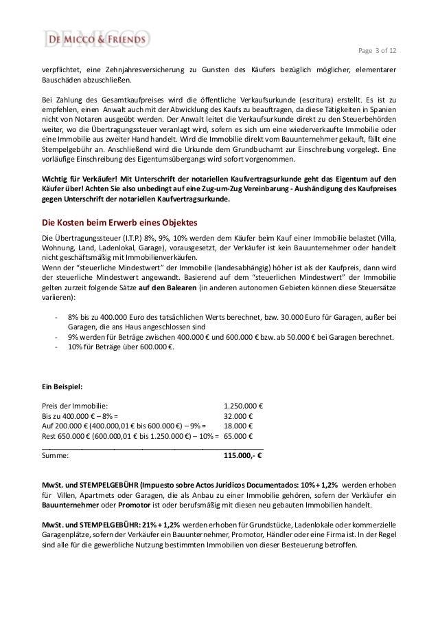 Kauf/Verkauf Immobilie Spanien - rechtliche und steuerliche Aspekte