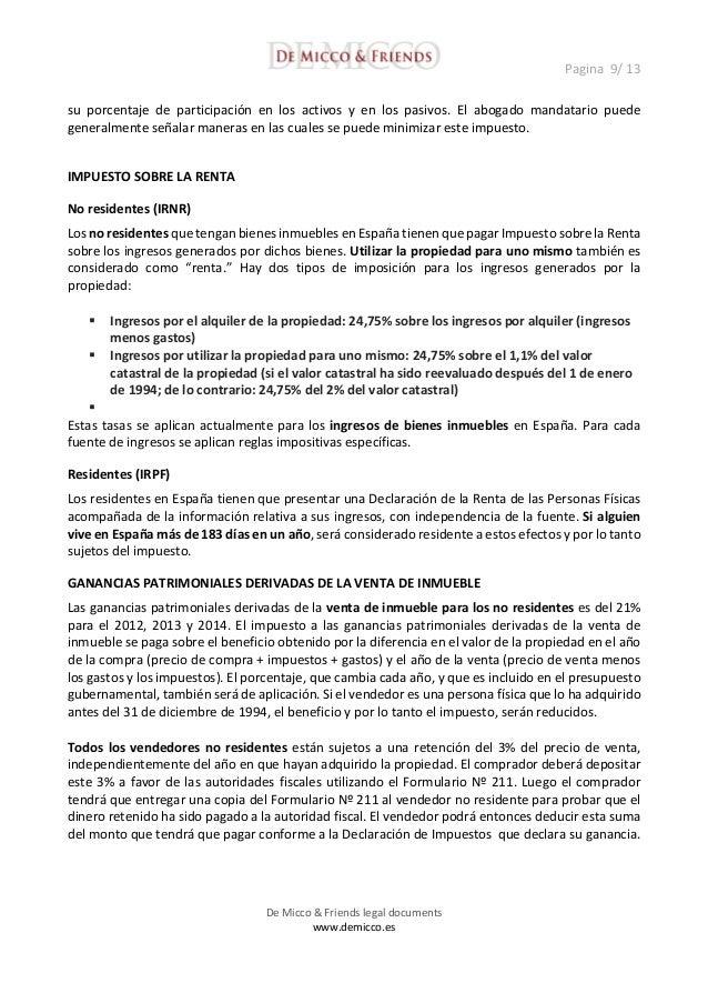 Implicaciones legales e impositivas de la compra de bienes inmuebles - Bienes raices espana ...