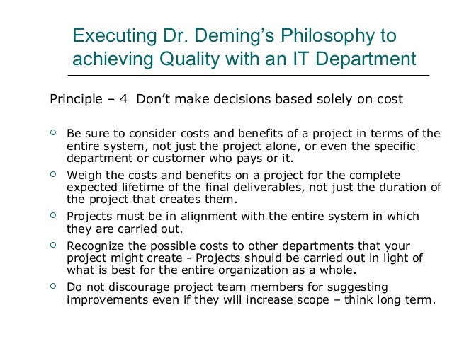 deming s philosophy Samuel moore walton (march 29, 1918 – april 5, 1992) was an american  businessman and  he worked for his brother's walton mortgage company,  which was an agent for metropolitan life insurance, where he foreclosed on  farms during.
