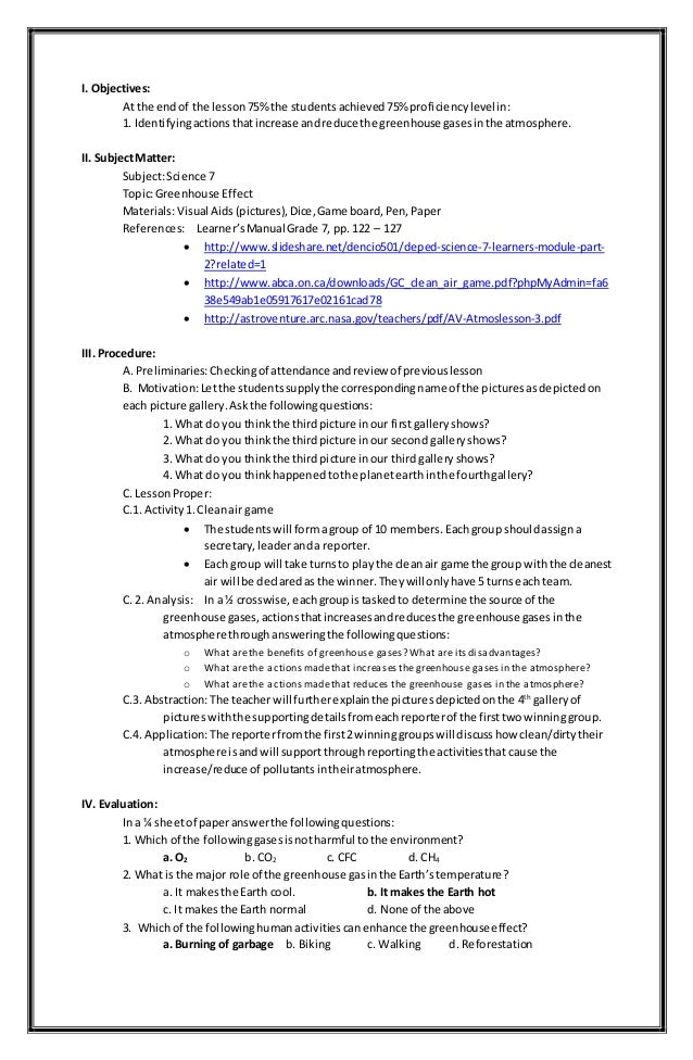Greenhouse Effect Lesson Plan – Greenhouse Effect Worksheet
