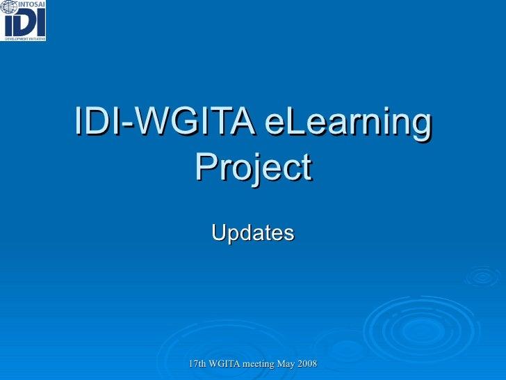 IDI-WGITA eLearning Project Updates