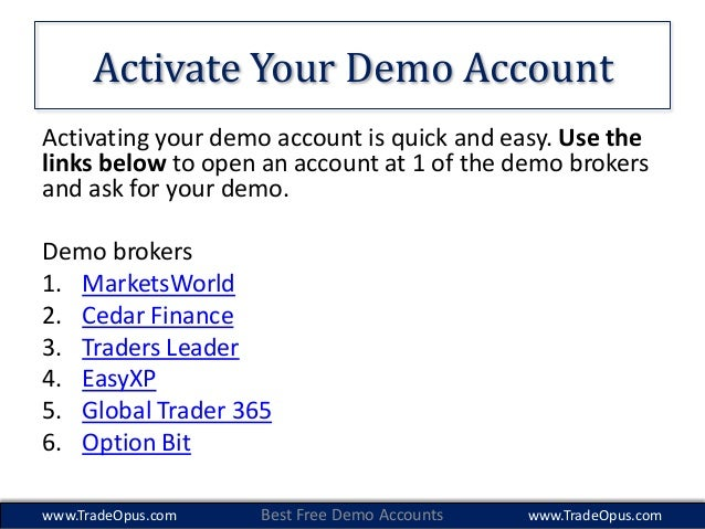 Free demo accounts for binary options