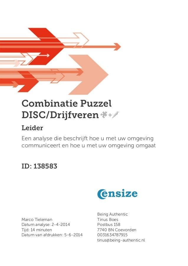 Combinatie Puzzel DISC/Drijfveren Leider Een analyse die beschrijft hoe u met uw omgeving communiceert en hoe u met uw omg...