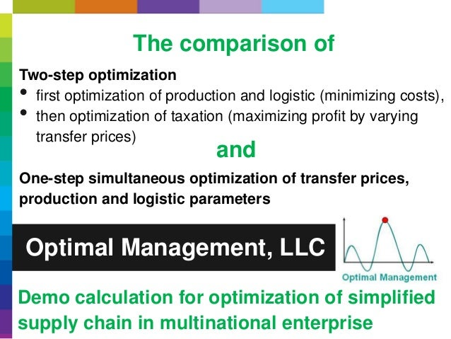 Optimal Management, LLC Demo calculation for optimization of simplified supply chain in multinational enterprise The compa...