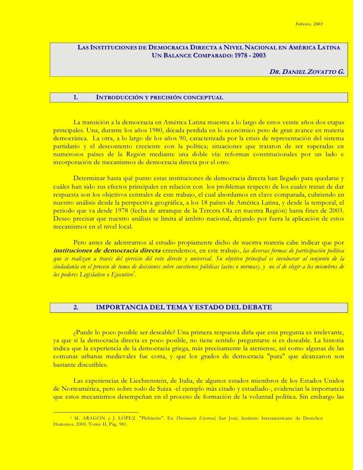 Democracia Directa En América Latina (Zovatto)
