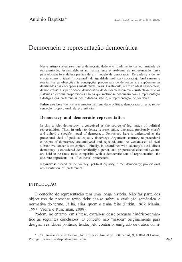 António Baptista*  Análise Social, vol.  XLV  (196), 2010, 491-514  Democracia e representação democrática Neste artigo su...