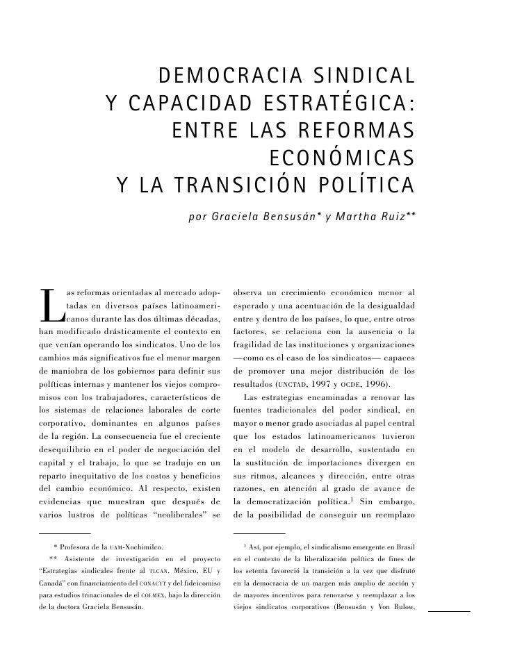 dE mocracia sindical                      y capacidad Estratégica:                            E ntrE las r Eformas        ...