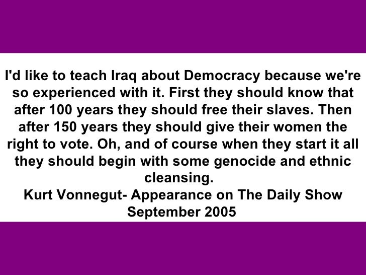 democracy in iraq essay Unemployment threatens democracy in iraq usaid-inma - 1 - unemployment  threatens democracy in iraq this essay argues that the existing high rate of.