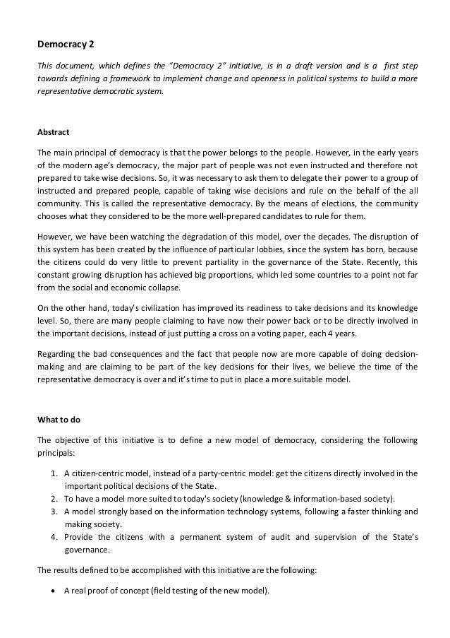 "Democracy 2  This  document,  which  defines  the  ""Democracy  2""  initiative,  is  in  a  draft  version  and  is  a    f..."