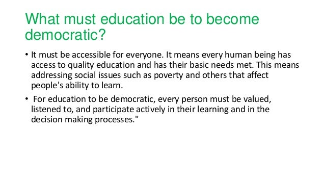 Democracy and education ppt ayesha kiran