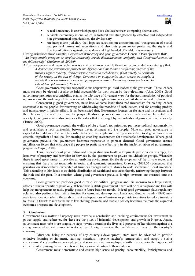democracy and good governance is a Rights, democracy and good governance is part of the strategy and policy unit's (spu) background papers in preparation for the upcoming world summit on the information society (wsis) in 2003 the author.
