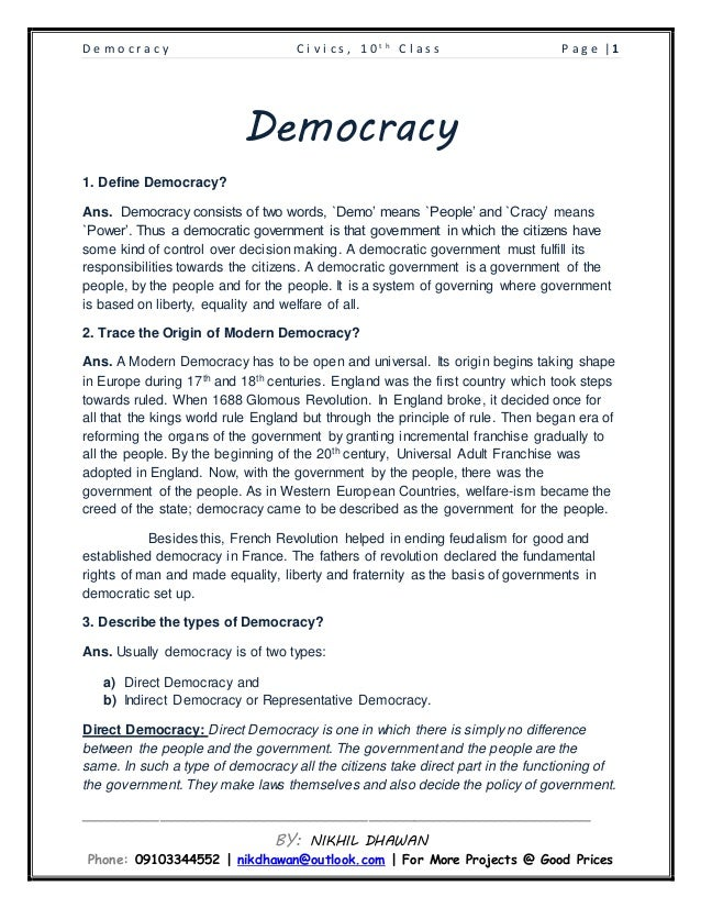 democracy and its types