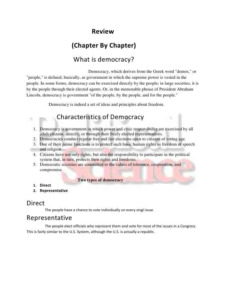 Review                            (Chapter By Chapter)                             What is democracy?                     ...
