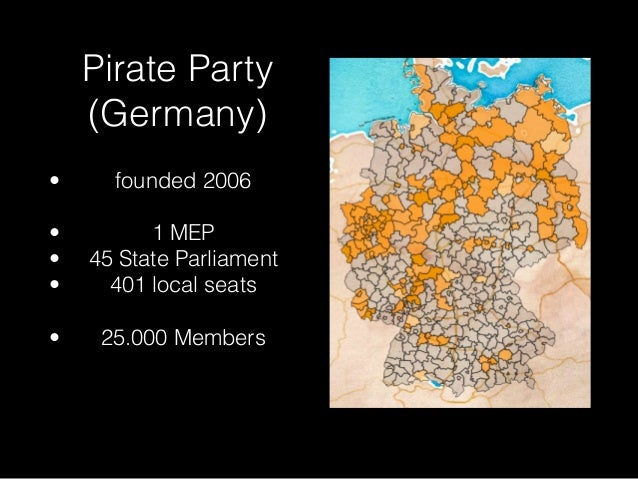 Pirate Party  (Germany)  • founded 2006  !  • 1 MEP  • 45 State Parliament  • 401 local seats  !  • 25.000 Members
