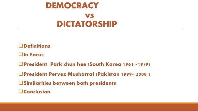 dictatorship and democracy Dictatorship is a related term of democracy as nouns the difference between dictatorship and democracy is that dictatorship is a type of government where absolute sovereignty is allotted to an individual or a small clique while democracy is (uncountable) rule by the people, especially as a form of government either directly or through elected representatives (representative democracy.