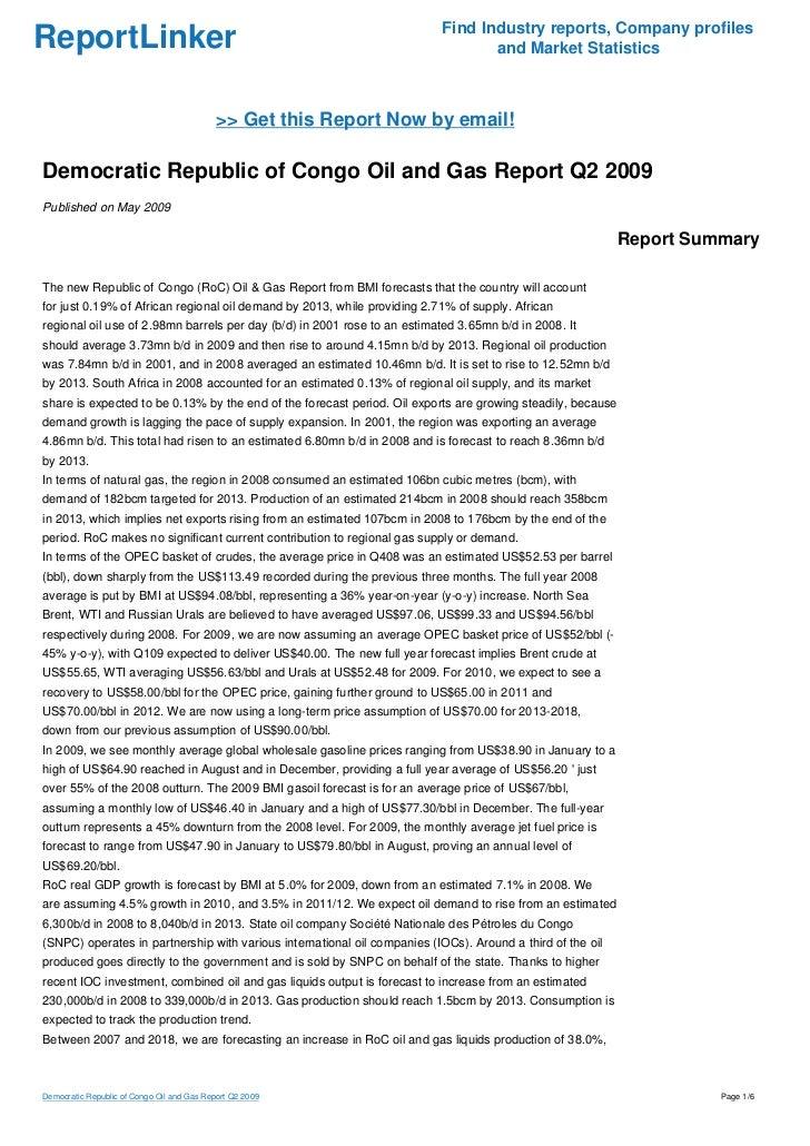 Democratic Republic of Congo Oil and Gas Report Q2 2009