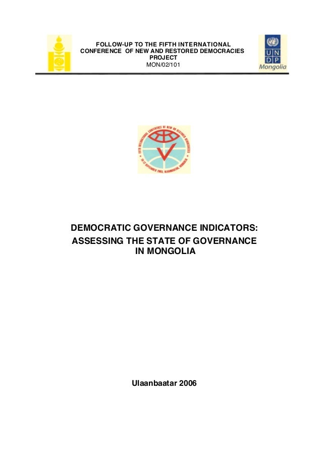 FOLLOW-UP TO THE FIFTH INTERNATIONAL CONFERENCE OF NEW AND RESTORED DEMOCRACIES                   PROJECT                 ...