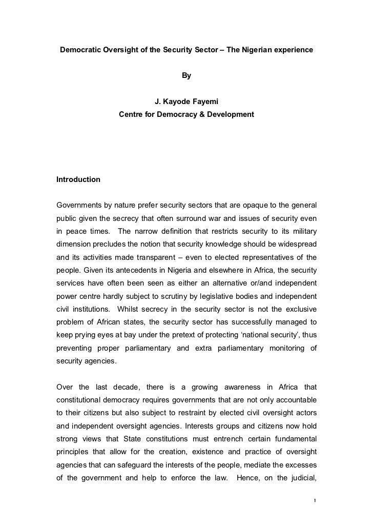 Democratic Oversight of the Security Sector – The Nigerian experience                                        By           ...