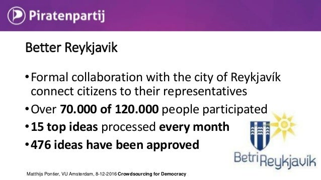 • Online participatory budgeting to improve the city of Reykjavik • Each voter has the same budget amount as the total and...