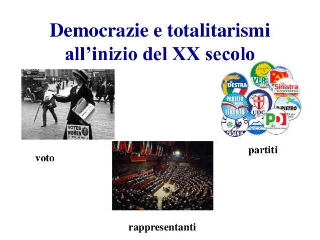 Democrazie e totalitarismi all'inizio del XX secolo voto partiti rappresentanti