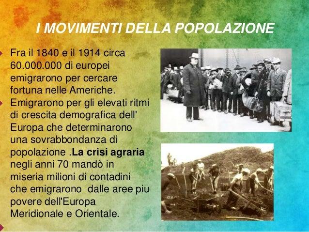 I MOVIMENTI DELLA POPOLAZIONE  Fra il 1840 e il 1914 circa 60.000.000 di europei emigrarono per cercare fortuna nelle Ame...