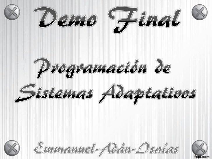 • Originalmente las tareas fueron asignadas  de la siguiente manera:• Emmanuel:  – Registros, Interfaz, Parte Adaptativa• ...