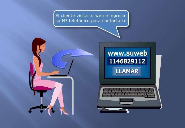 El cliente visita tu web e ingresa <br />su N° telefónico para contactarte<br />www.suweb<br />1146829112<br />LLAMAR<br />