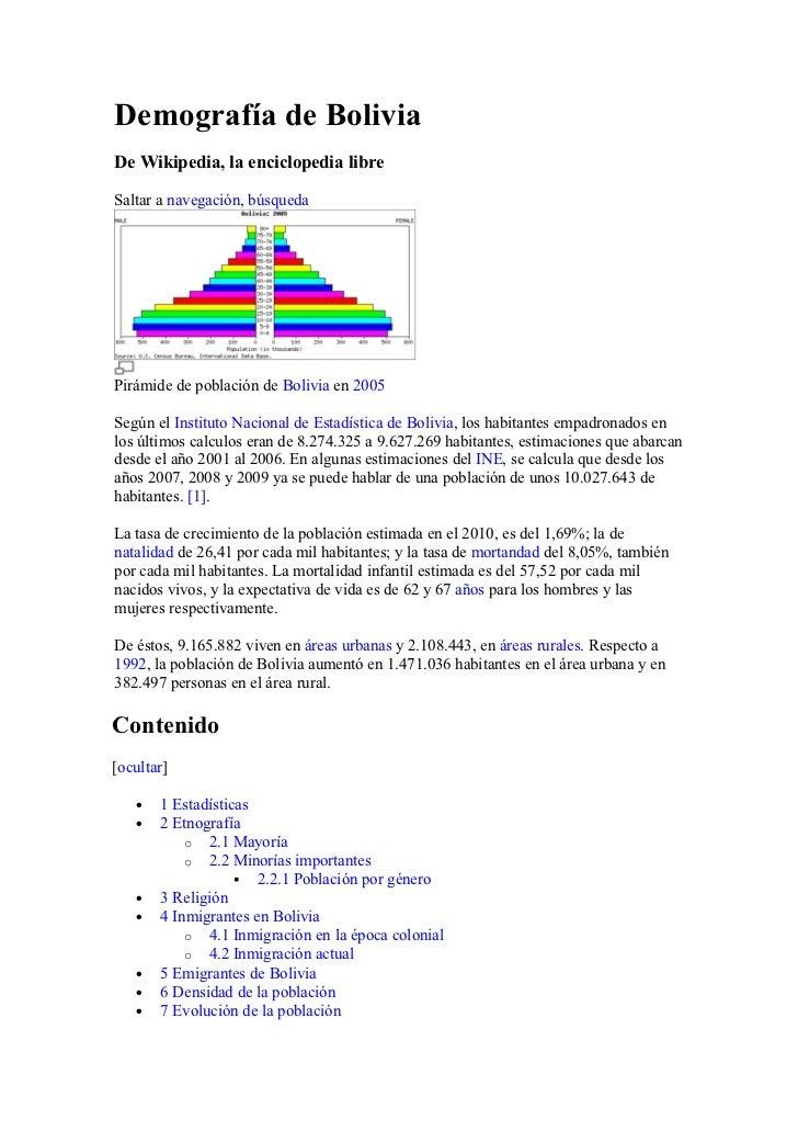 Demografía de BoliviaDe Wikipedia, la enciclopedia libreSaltar a navegación, búsquedaPirámide de población de Bolivia en 2...