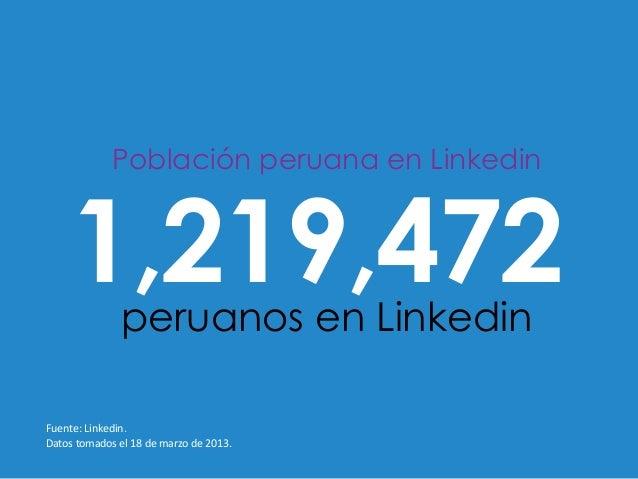 Población peruana en Linkedin       1,219,472        peruanos en LinkedinFuente: Linkedin. Datos tomados el 18 ...