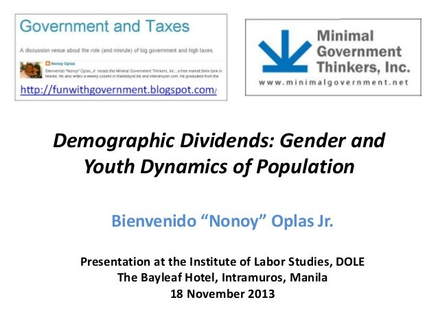 """Demographic Dividends: Gender and Youth Dynamics of Population Bienvenido """"Nonoy"""" Oplas Jr. Presentation at the Institute ..."""