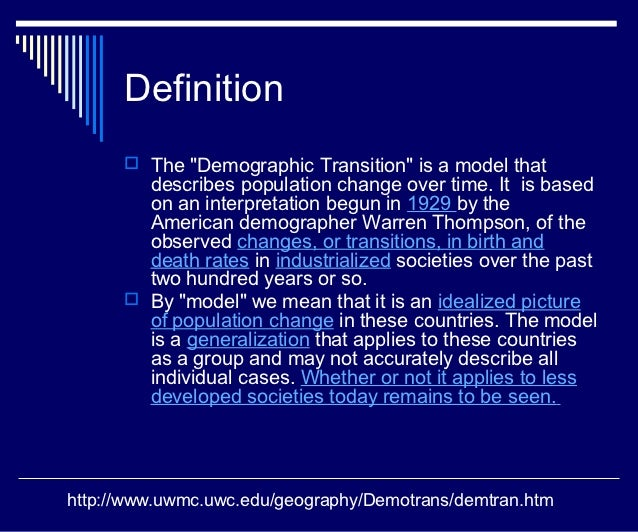 demographic transitions essay To understand the variety of demographic regimes found across the world, it is necessary to understand the history of demographic change globally.