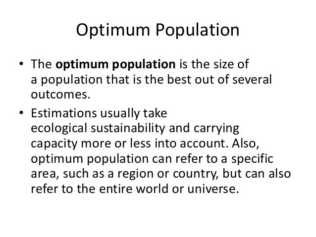 optimum theory of population pdf