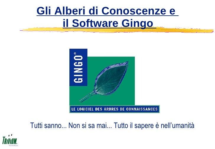 Gli Alberi di Conoscenze e        il Software Gingo     Tutti sanno... Non si sa mai... Tutto il sapere è nell'umanità