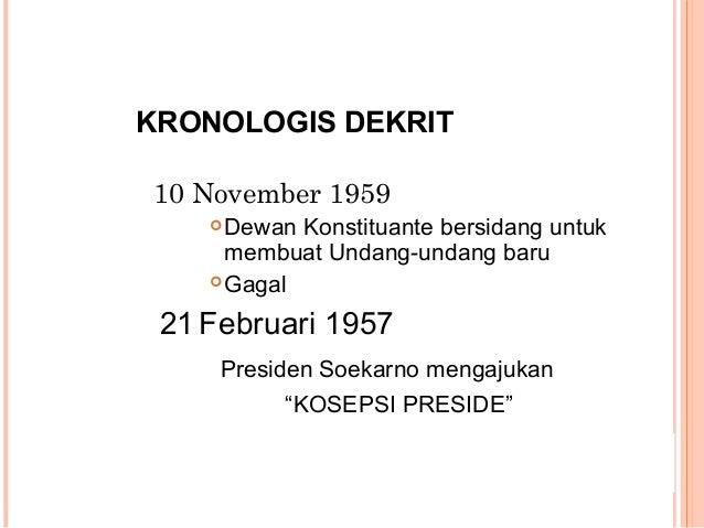 KRONOLOGIS DEKRIT 10 November 1959 Dewan Konstituante bersidang untuk membuat Undang-undang baru Gagal 21 Februari 1957 ...
