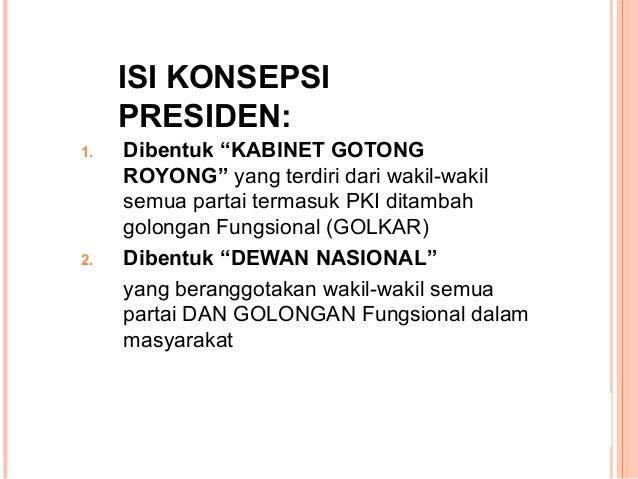 "ISI KONSEPSI PRESIDEN: 1. Dibentuk ""KABINET GOTONG ROYONG"" yang terdiri dari wakil-wakil semua partai termasuk PKI ditamba..."