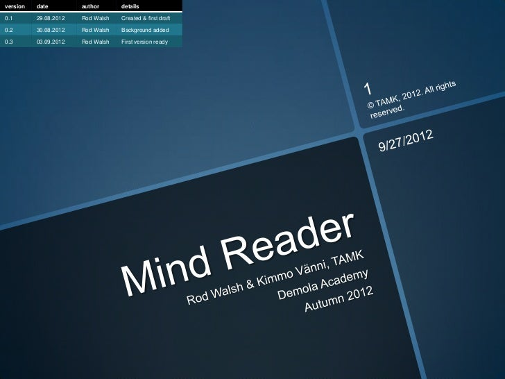 version   date         author      details0.1       29.08.2012   Rod Walsh   Created & first draft0.2       30.08.2012   R...
