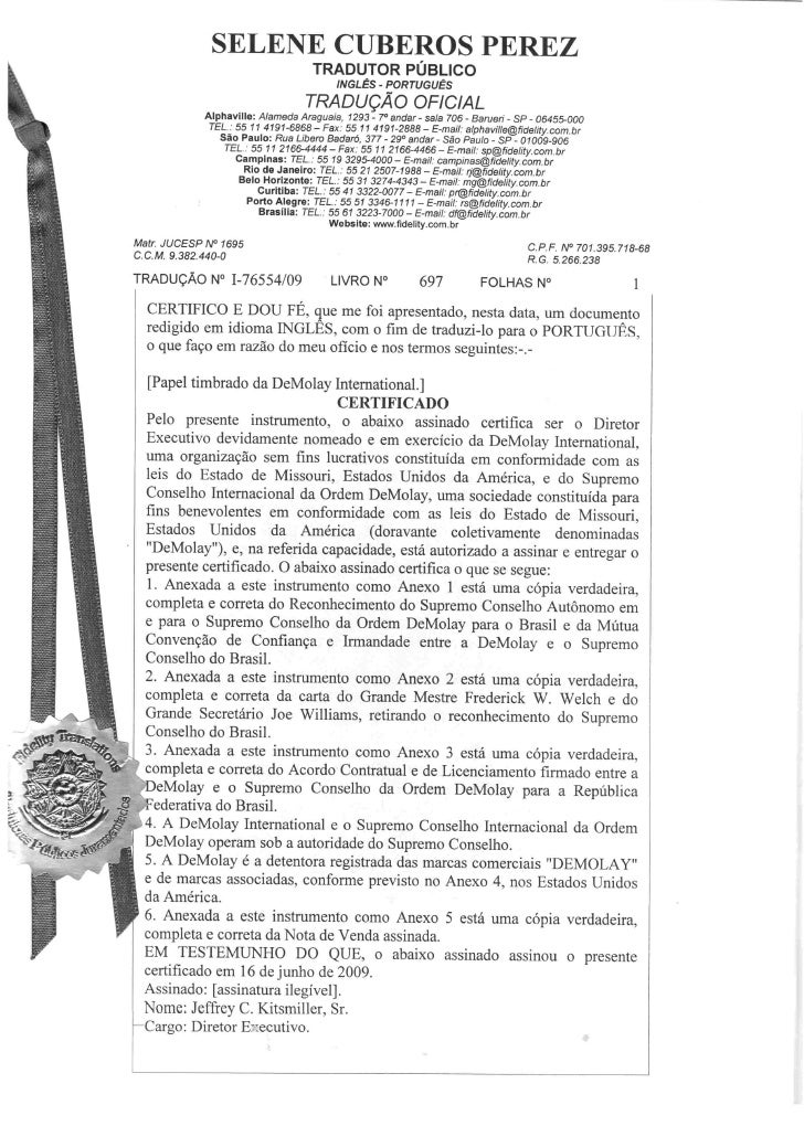 DeMolay Internacional - Tradução Juramentada