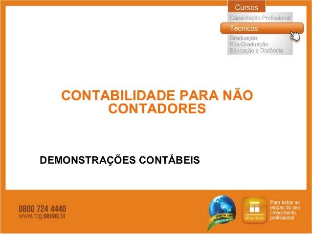 CONTABILIDADE PARA NÃO CONTADORES DEMONSTRAÇÕES CONTÁBEIS