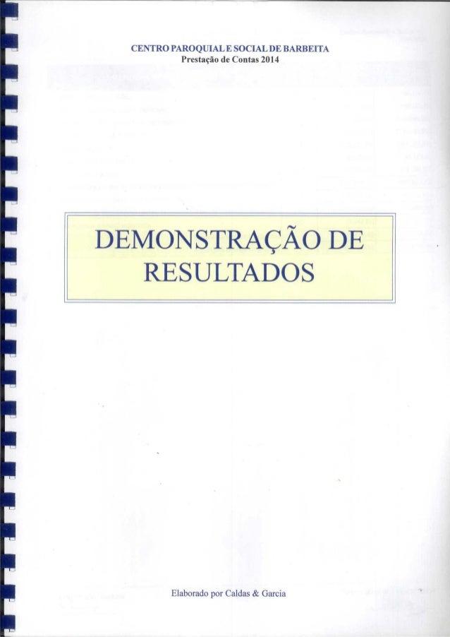 Demonstração de resultados 1 relatório de contas cpsb