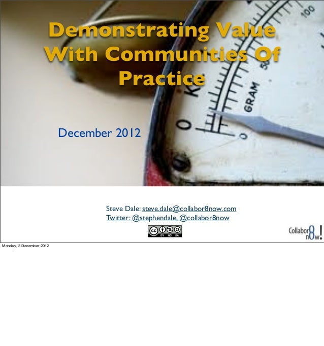 Demonstrating Value                    With Communities Of                          Practice                          Dece...