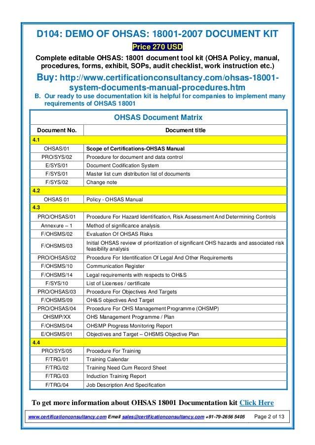 demo of ohsas 18001 2007 document kit rh slideshare net OHSAS 18001 2007 Standard ISO 18001 PDF